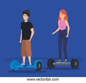 man wearing hat and woman riding electric scooter