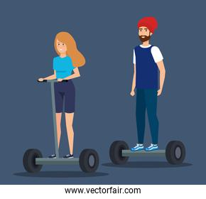 woman and man with beard riding electric scooter