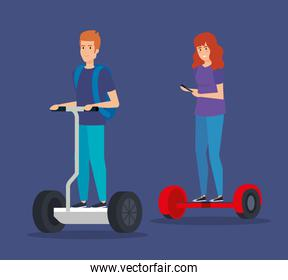 man and woman with smartphone riding electric scooter