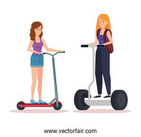 women talking and riding electric scooter