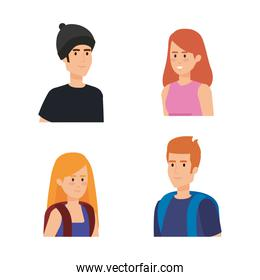set women and men with hairstyle and backpack