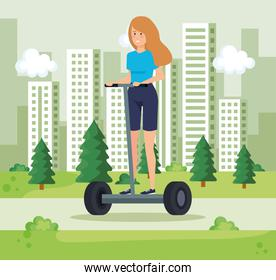 woman riding electric scooter and cityscpae