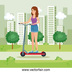 woman riding electric scooter with casual clothes