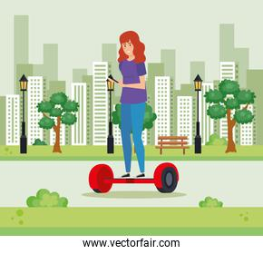 woman riding electric scooter with smartphone