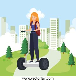 woman riding electric scooter with backpack