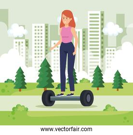 woman riding electric scooter in the urban park