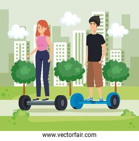 woman and man riding electric scooter in the park