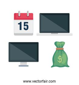 set laptop with computer and money bag