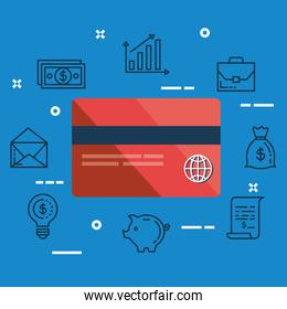 finance credit card with money bag