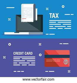 set laptop with report invoice and credit card