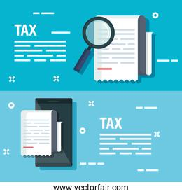 set service tax document with magnifying glass and smartphone