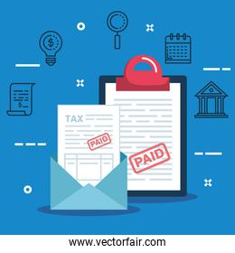 service report tax document with card