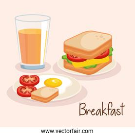 sandwich with orange juice and fried egg