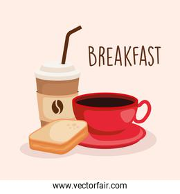 sliced bread with delicious coffee cup