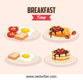 set delicious fried egg with waffles and pancakes