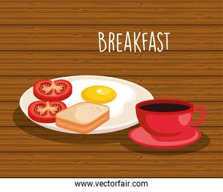 fried egg with sliced bread and coffee cup