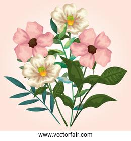 beauty flowers plants with exotic branches leaves