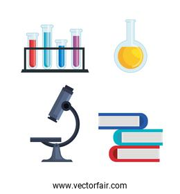 set tubes analysis and erlenmeyer flask with books