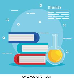 chemistry books with erlenmeyer flask analysis