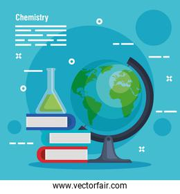 erlenmeyer flask with books and desk earth planet