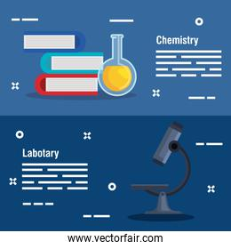 set chemistry books with erlenmeyer flask and microscope