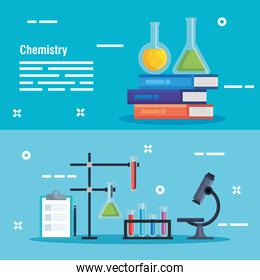 set erlenmeyer flask with chemistry books and microscope