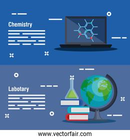 set computer with molecule and erlenmeyer flask with books