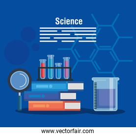 chemistry books with tubes test and erlenmeyer flask