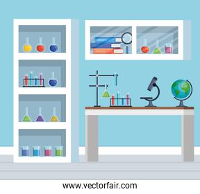 office chemistry with microscope technology and tubes