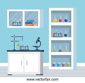 office chemistry with erlenmeyer flask and books