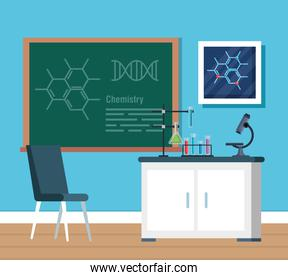 chemistry office with tubes analysis and blackboard