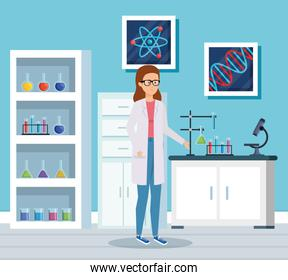 woman chemist with erlenmeyer flask analysis