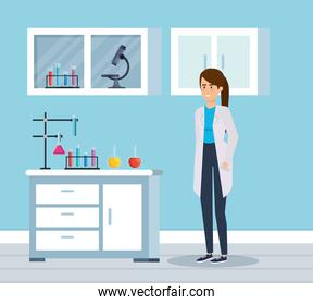 woman chemist with microscope analysis in the office