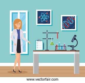 woman chemist with microscope and erlenmeyer flask