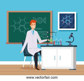 man chemist with erlenmeyer flask and microscope