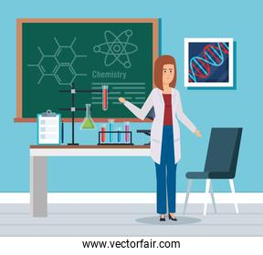 woman chemist with blackboard and erlenmeyer flask
