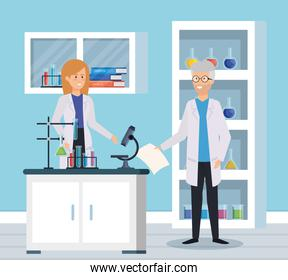 woman and old man chemists with microscope test