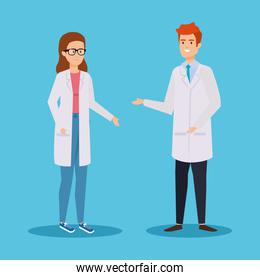 professional woman and man chemists diagnosis