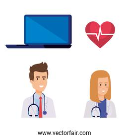 set laptop technology with doctors and heartbeat