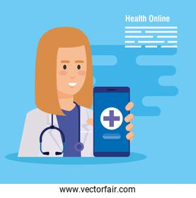 woman doctor with stethoscope and smartphone diagnosis