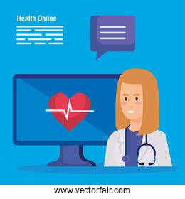 woman doctors with stethoscope and computer technology