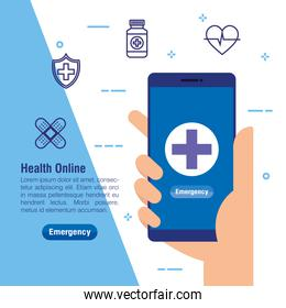 hand with smartphone technology and medical service
