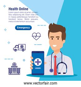 man doctor with smartphone and medical service