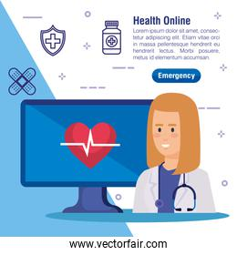 woman doctor with computer technology and heartbeat