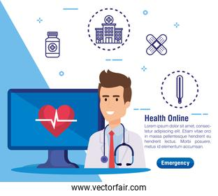 man doctor with computer technology and heartbeat