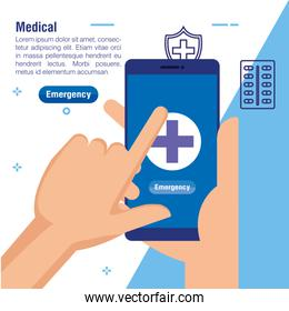 hands with smartphone medical technology to consultation