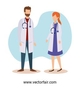 medicine service and man and woman doctors