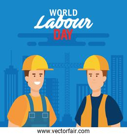 builders with helmet and uniform to labour day