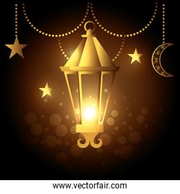 lamp and moon with star hanging to celebration