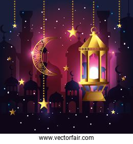 moon with stars and lamp hanging to celebration